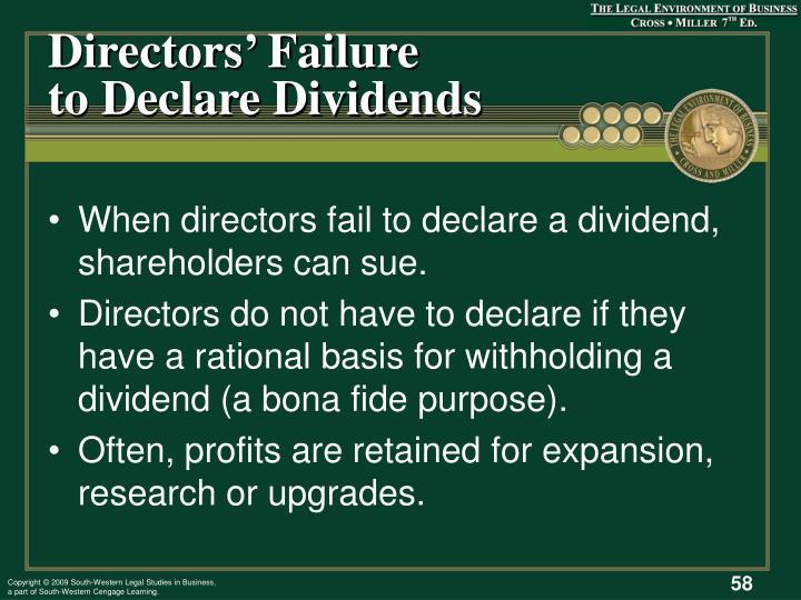 Directors' Failure