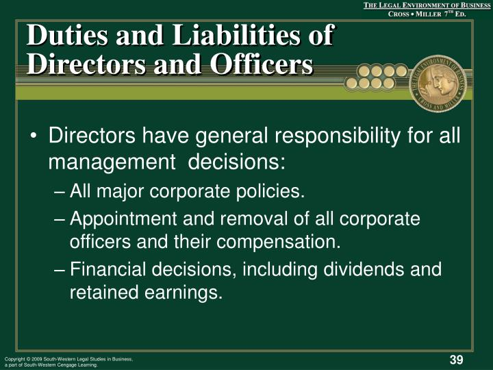 Duties and Liabilities of