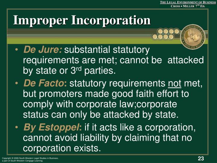 Improper Incorporation