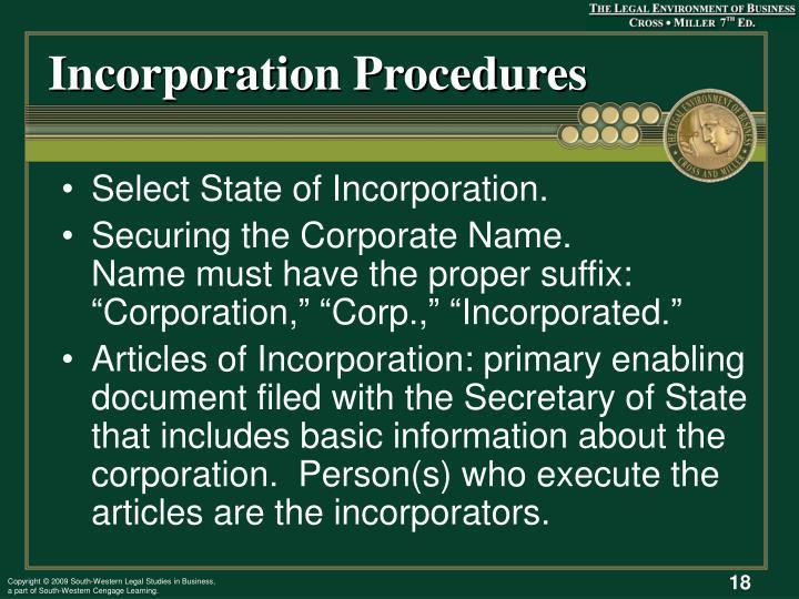 Incorporation Procedures