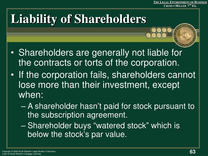 Liability of Shareholders
