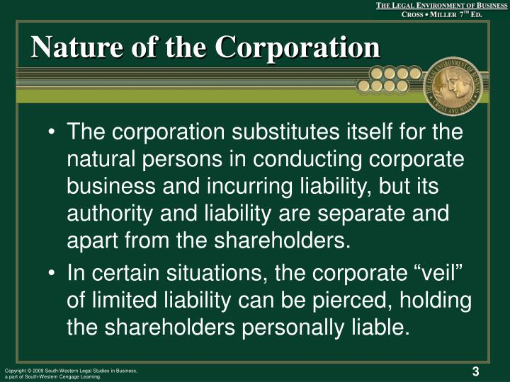 Nature of the corporation