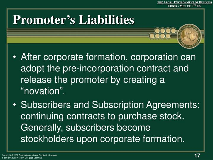 Promoter's Liabilities