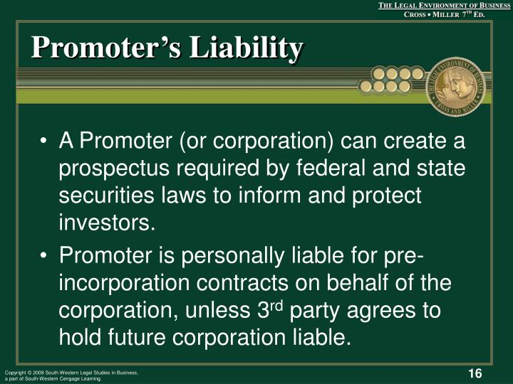 Promoter's Liability