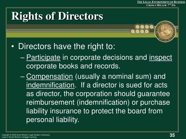 Rights of Directors