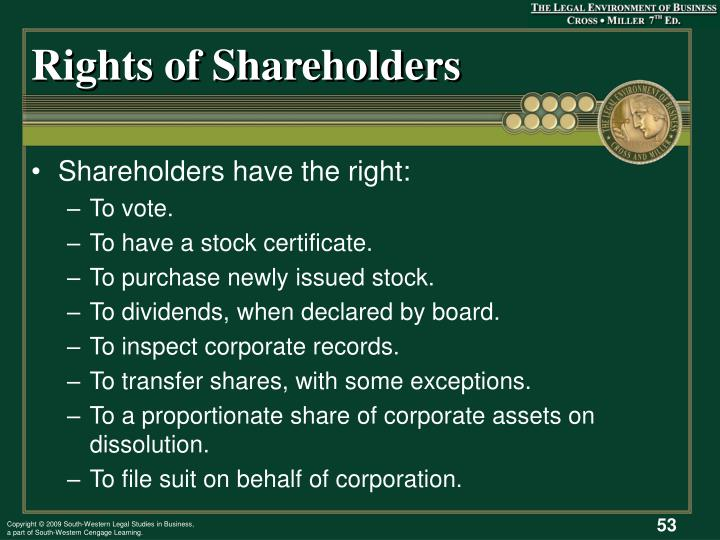 Rights of Shareholders