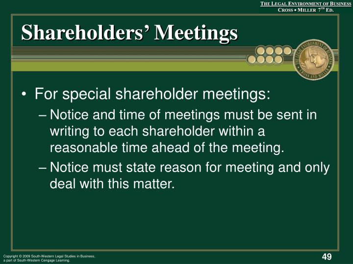 Shareholders' Meetings