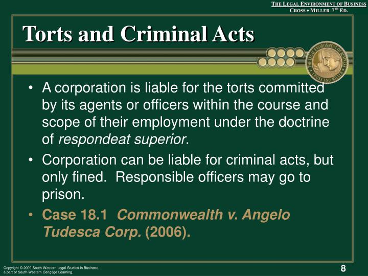 Torts and Criminal Acts