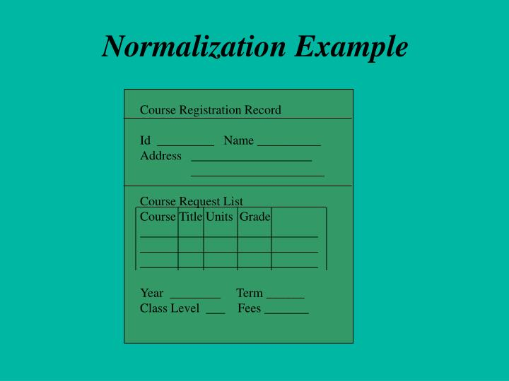 Normalization Example