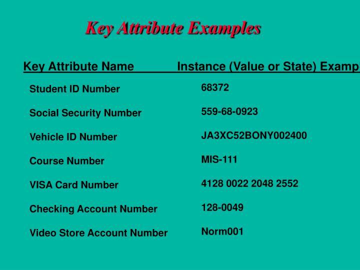 Key Attribute Examples