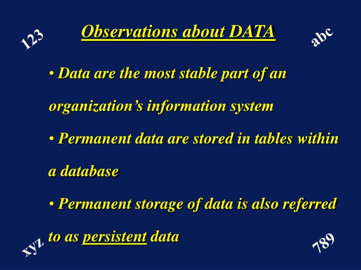 Observations about DATA