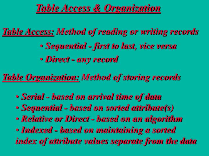 Table Access & Organization