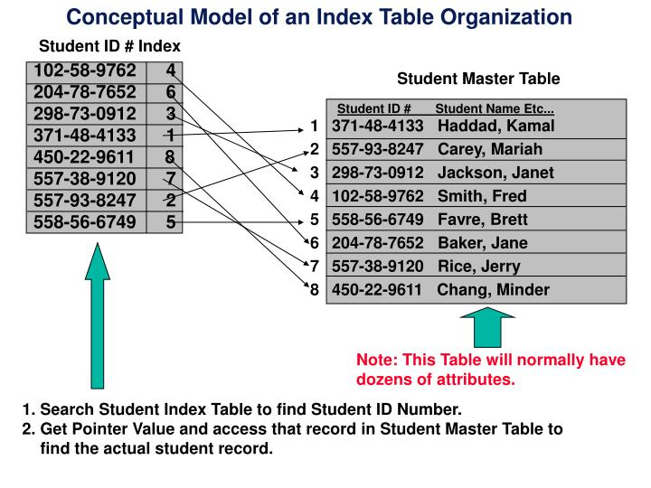 Conceptual Model of an Index Table Organization