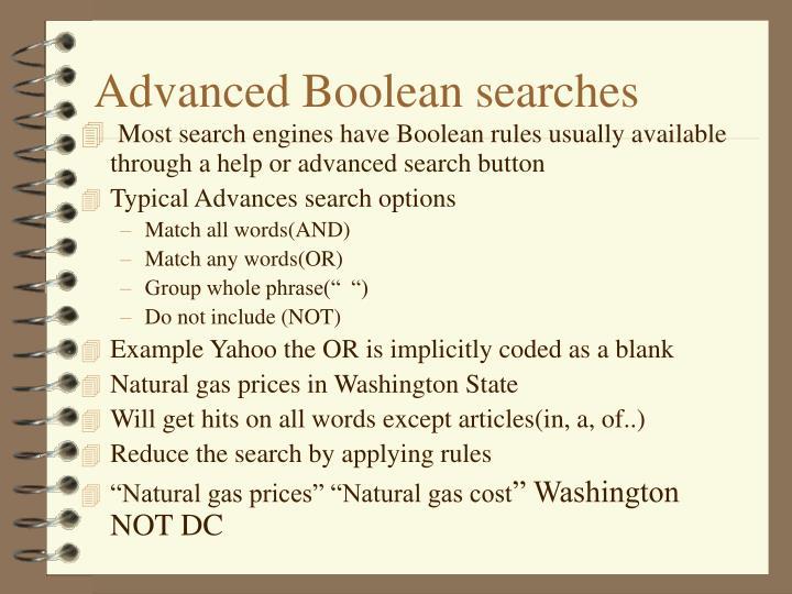 Advanced Boolean searches