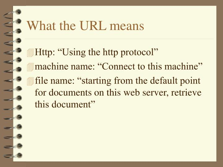 What the URL means