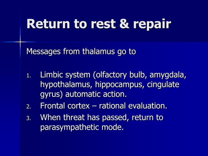 Return to rest & repair