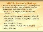 mbct research findings