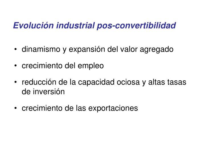 Evolución industrial pos-convertibilidad