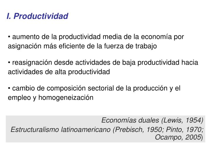 I. Productividad