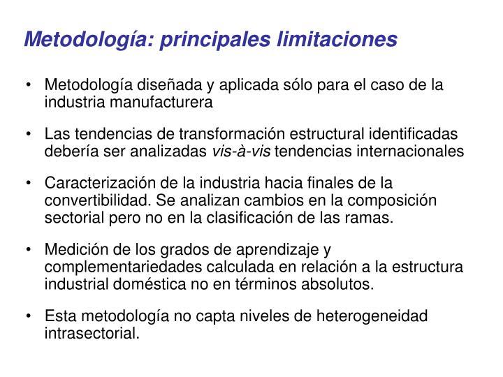 Metodología: principales limitaciones