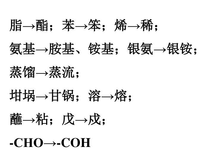 脂→酯;苯→笨;烯→稀;