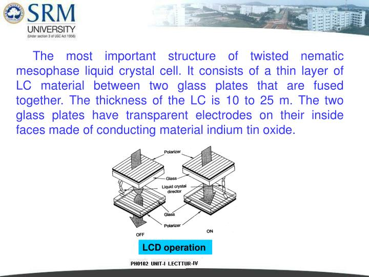The most important structure of twisted nematic mesophase liquid crystal cell. It consists of a thin layer of LC material between two glass plates that are fused together. The thickness of the LC is 10 to 25 m. The two glass plates have transparent electrodes on their inside faces made of conducting material indium tin oxide.