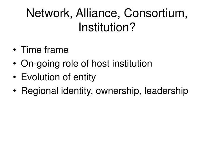 Network, Alliance, Consortium, Institution?