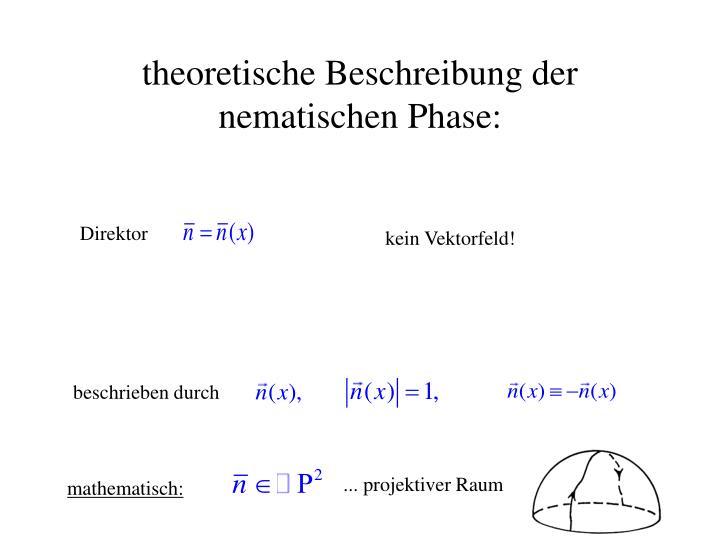 theoretische Beschreibung der nematischen Phase:
