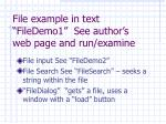 file example in text filedemo1 see author s web page and run examine