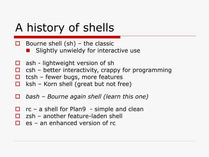 A history of shells