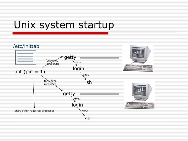 Unix system startup