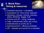 5 work plan timing resources