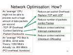 network optimisation how3