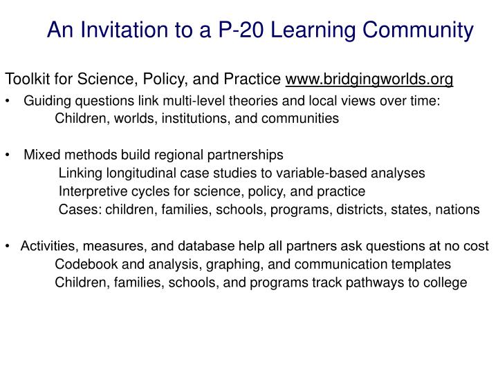 An Invitation to a P-20 Learning Community