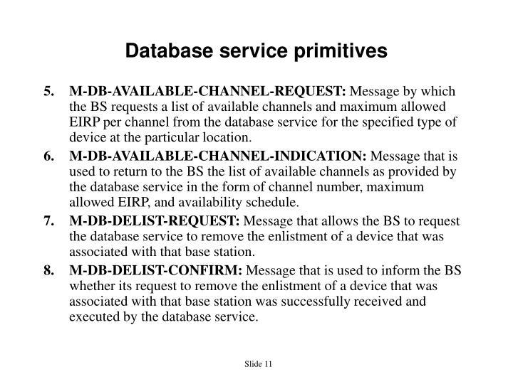 Database service primitives
