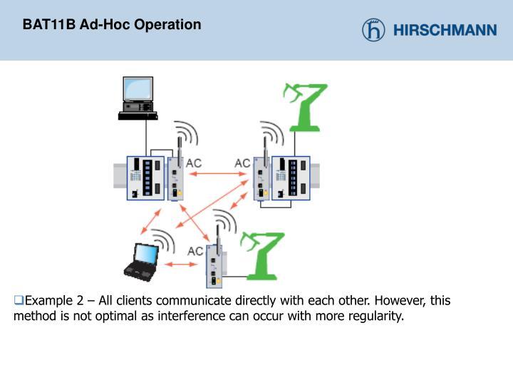 BAT11B Ad-Hoc Operation
