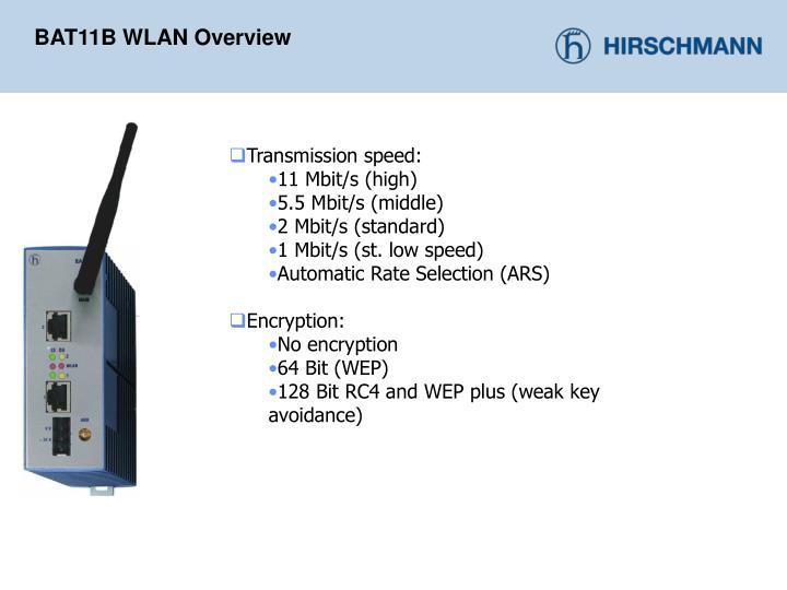 BAT11B WLAN Overview