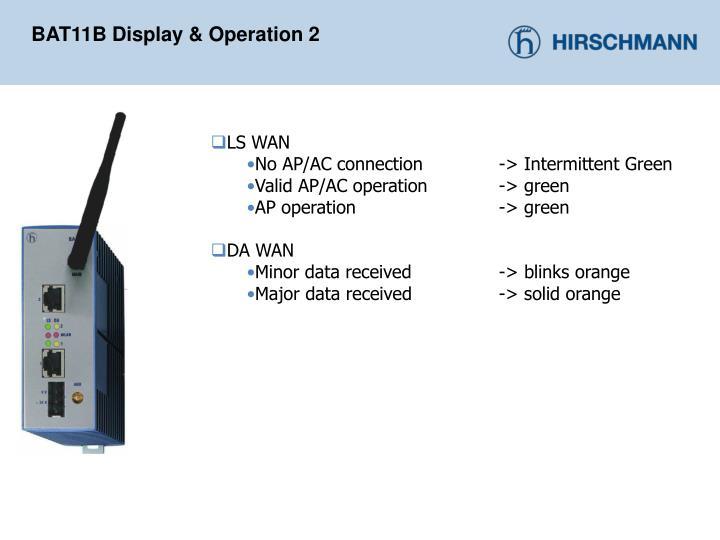 BAT11B Display & Operation 2