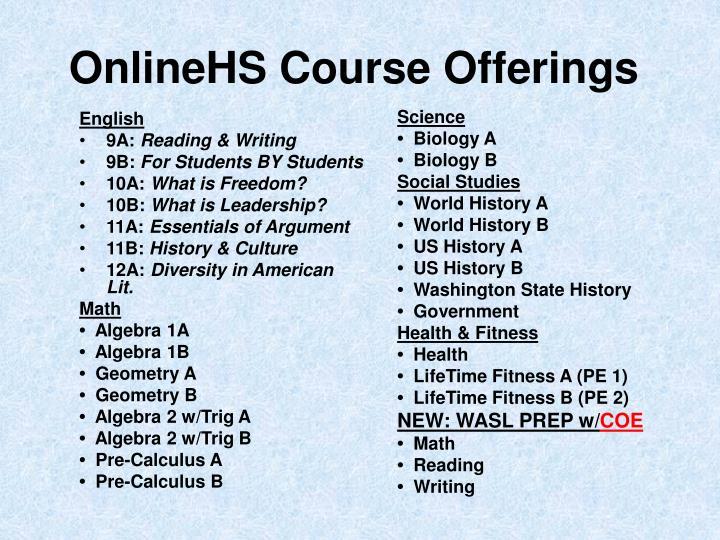 OnlineHS Course Offerings