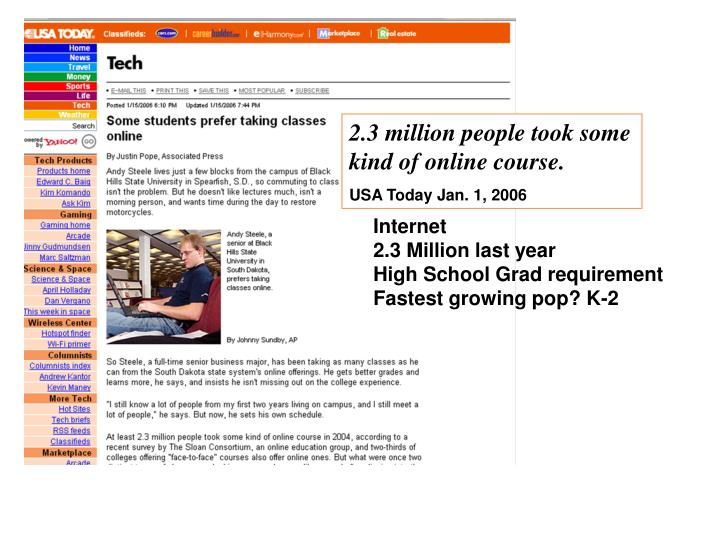 2.3 million people took some kind of online course.