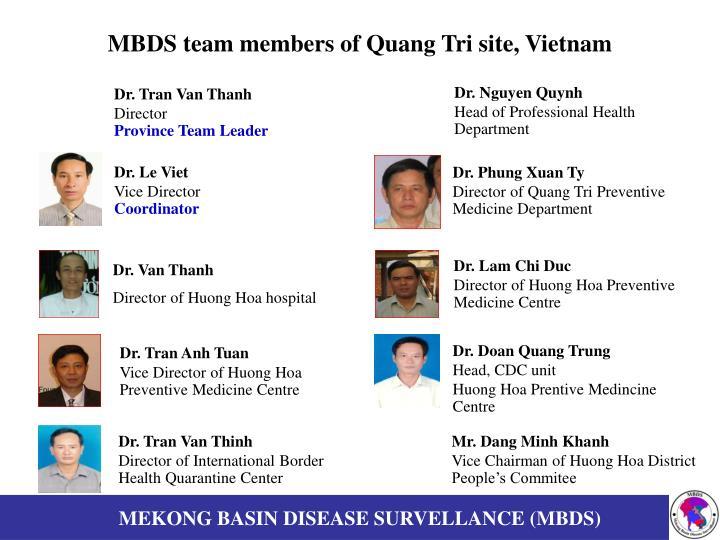 MBDS team members of Quang Tri site, Vietnam