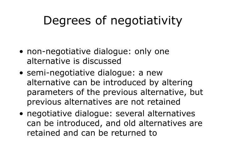 Degrees of negotiativity