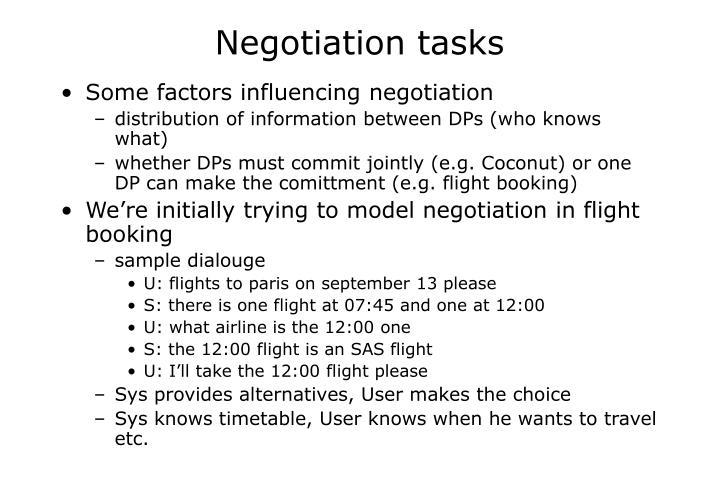 Negotiation tasks