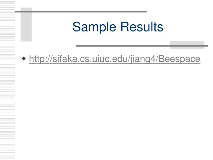 Sample results