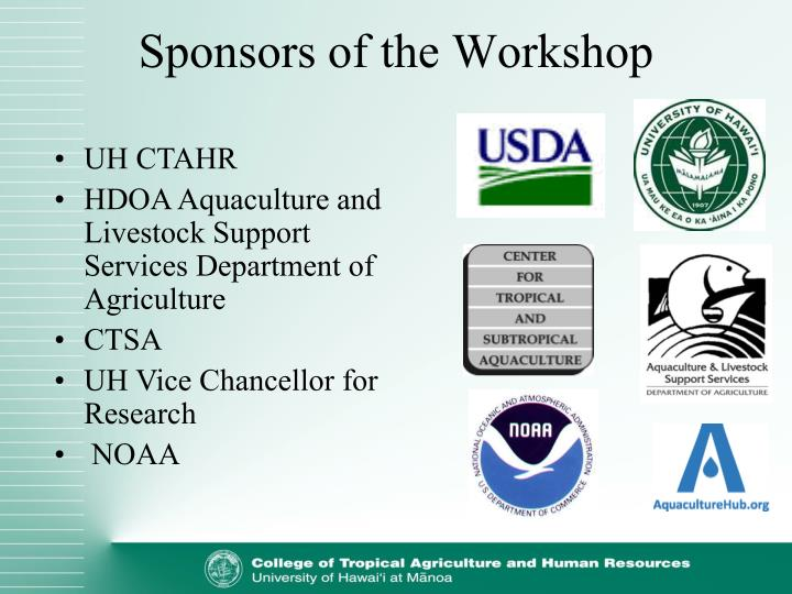 Sponsors of the workshop