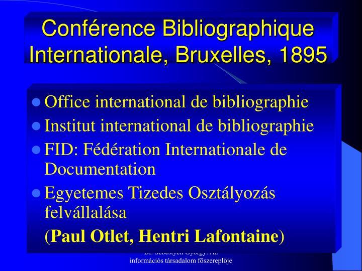 Conférence Bibliographique Internationale, Bruxelles, 1895