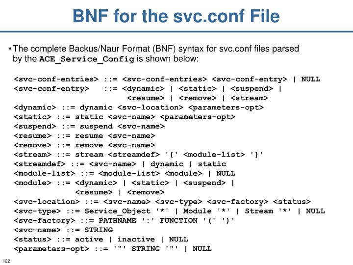 BNF for the svc.conf File