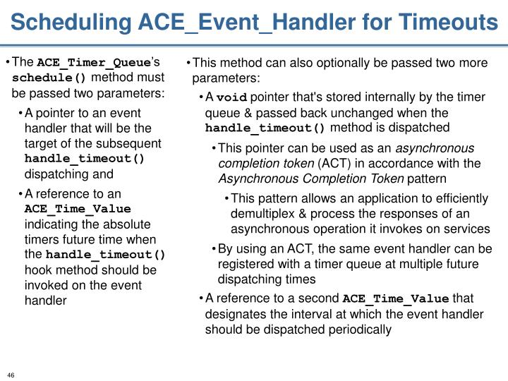 Scheduling ACE_Event_Handler for Timeouts