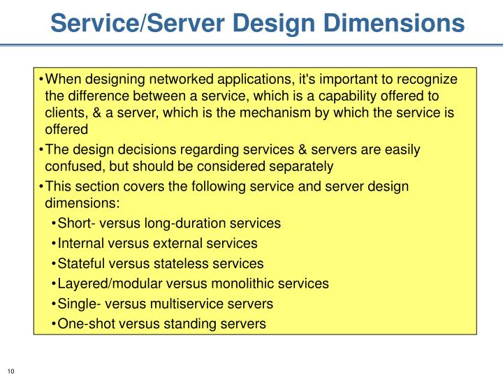 Service/Server Design Dimensions