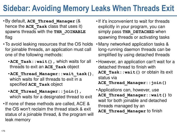 Sidebar: Avoiding Memory Leaks When Threads Exit